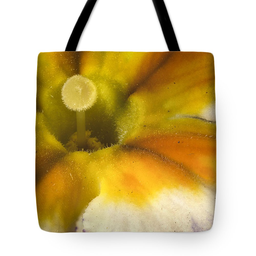 Primrose Tote Bag featuring the photograph The Inner Circle Of A Primrose by Jean Noren