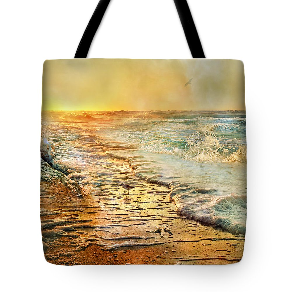 Beach Tote Bag featuring the photograph The Inspirational Sunrise by Betsy Knapp