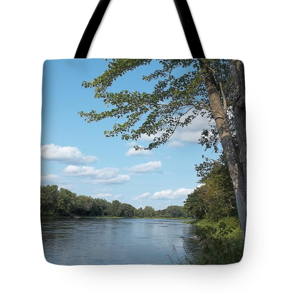 Rivers Tote Bag featuring the photograph The Intervale On The Piscataquis by Georgia Hamlin