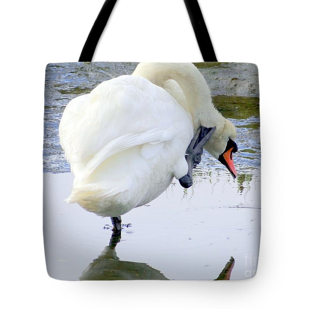 Swan Tote Bag featuring the photograph The Itch by Ed Weidman