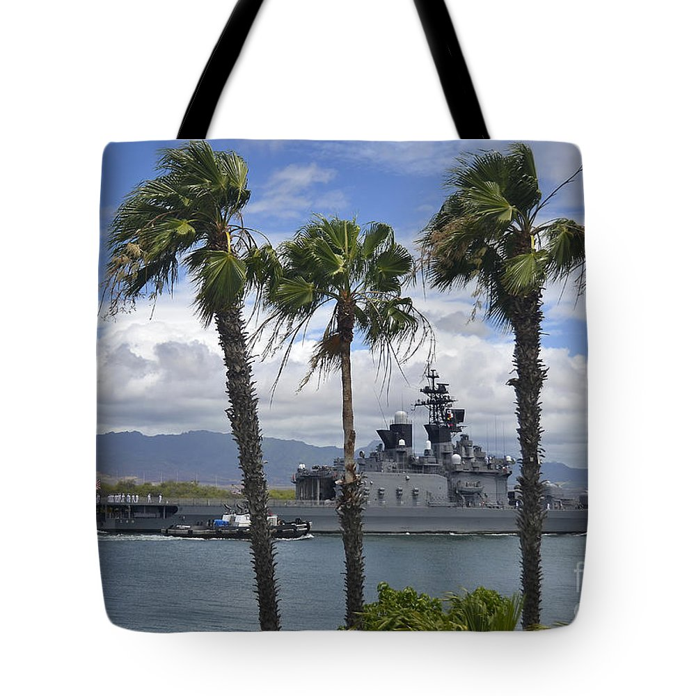Pearl Harbor Tote Bag featuring the photograph The Japanese Self Defense Force Ship Js by Stocktrek Images