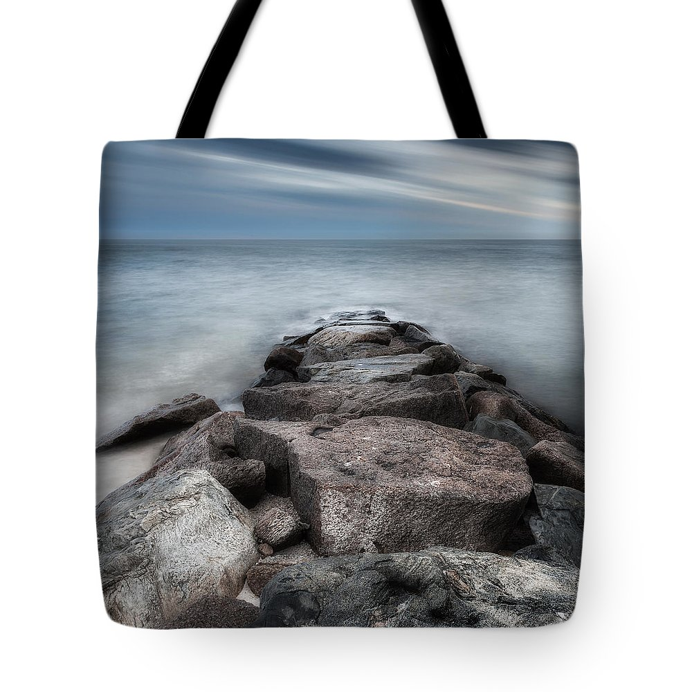 Seascape Tote Bag featuring the photograph The Jetty Square by Bill Wakeley