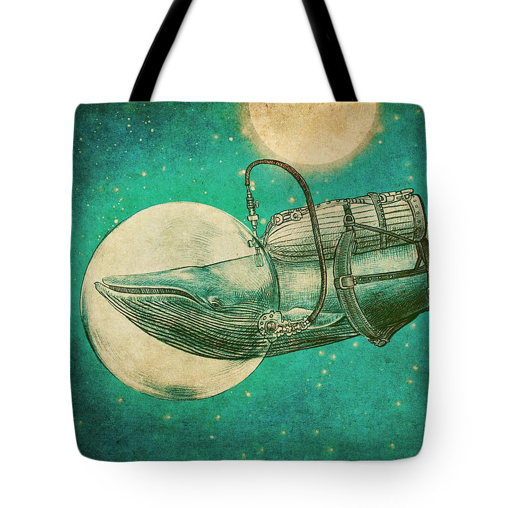 Whale Tote Bag featuring the drawing The Journey by Eric Fan