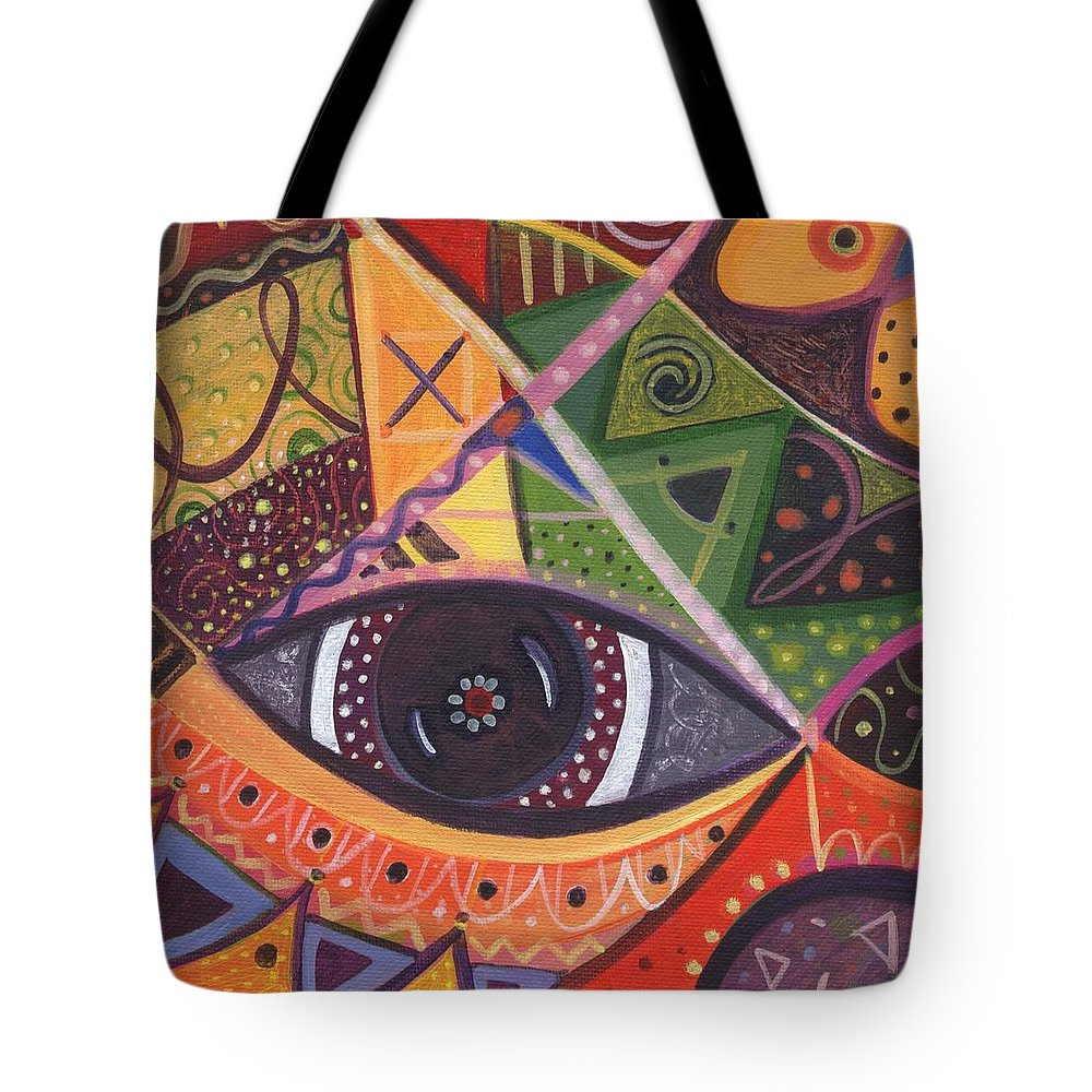Abstract Tote Bag featuring the painting The Joy Of Design IIl Part Three by Helena Tiainen