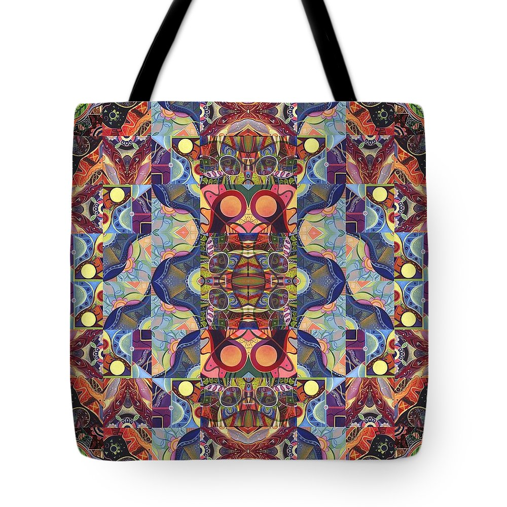 Abstract Tote Bag featuring the digital art The Joy Of Design Mandala Series Puzzle 1 Arrangement 5 by Helena Tiainen