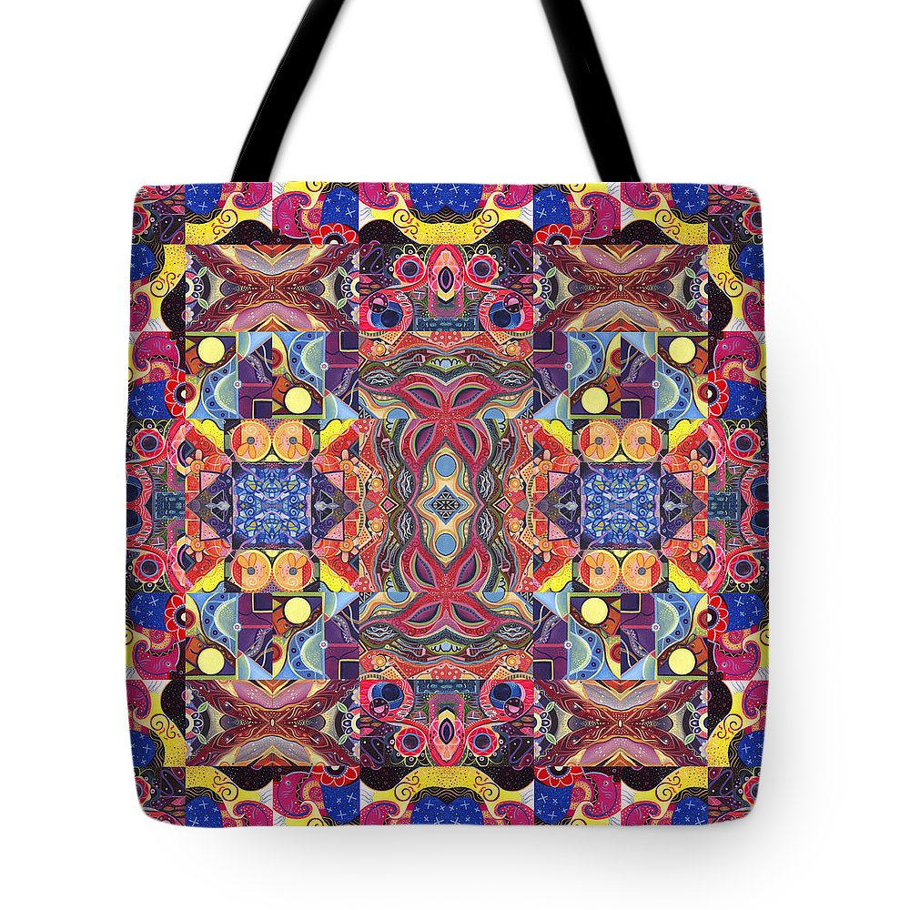 Abstract Tote Bag featuring the painting The Joy Of Design Mandala Series Puzzle 3 Arrangement 1 by Helena Tiainen