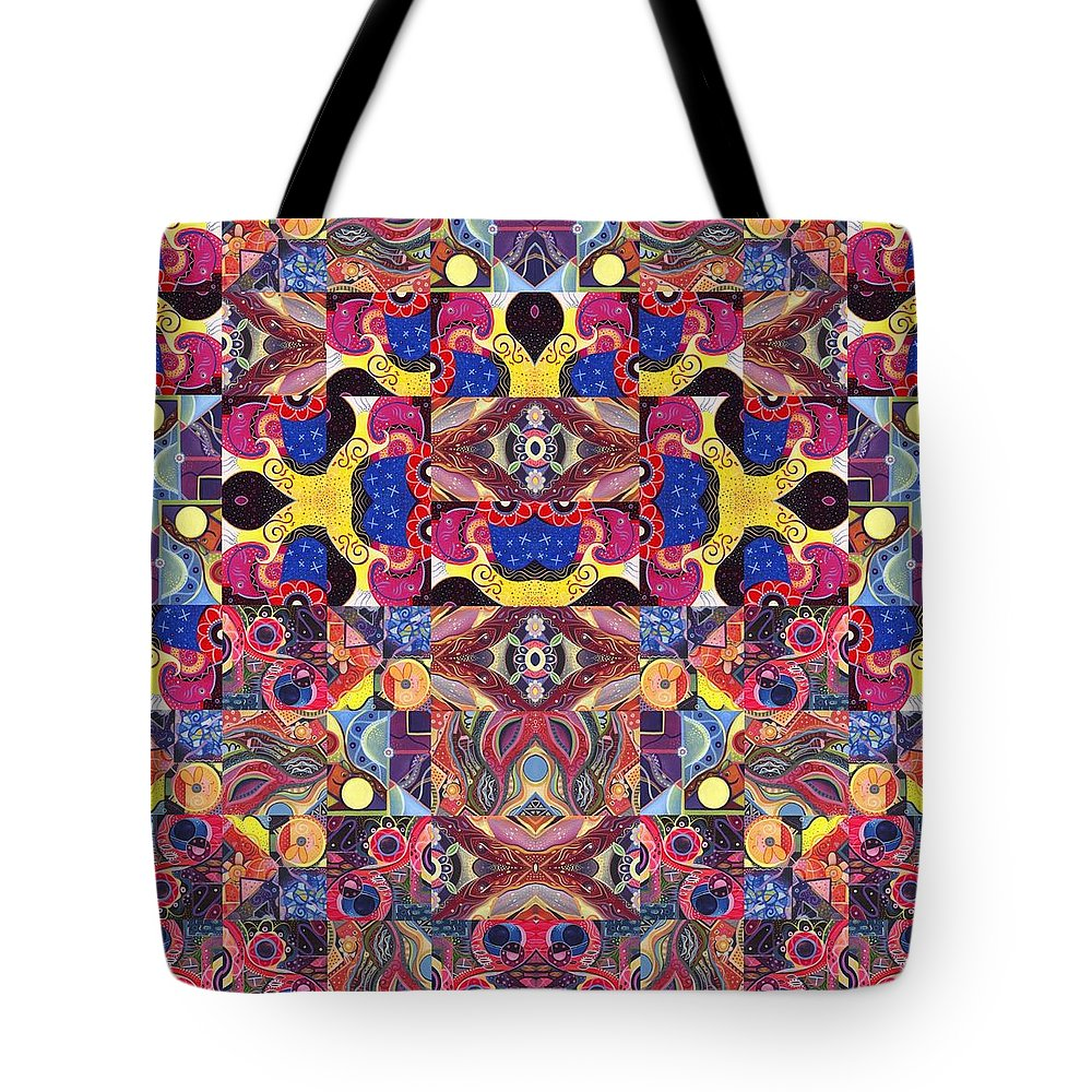Abstract Tote Bag featuring the painting The Joy Of Design Mandala Series Puzzle 3 Arrangement 6 by Helena Tiainen