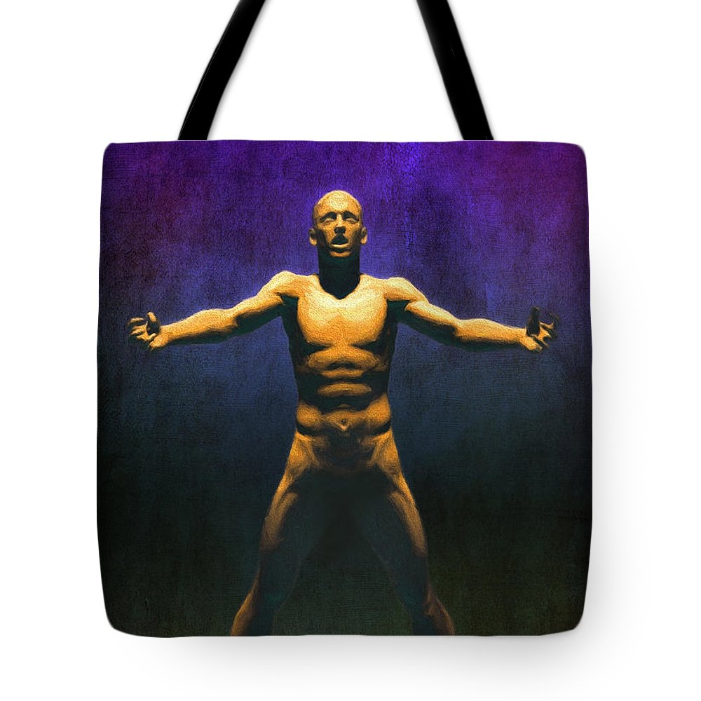 Man Tote Bag featuring the painting The Judgement Ver1 by Gary D Baker