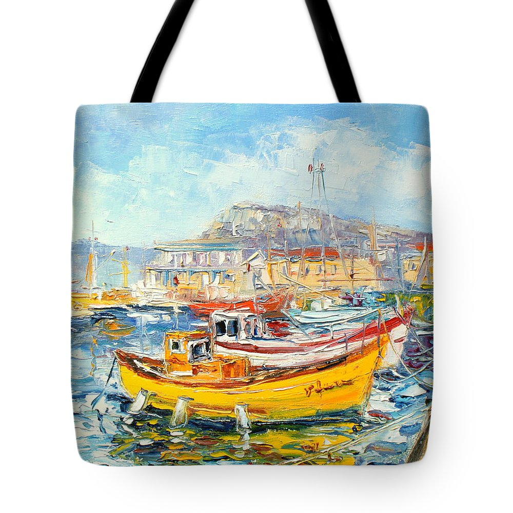 Kalk Bay Tote Bag featuring the painting The Kalk Bay Harbour by Luke Karcz