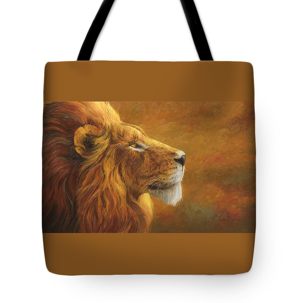 Lion Tote Bag featuring the painting The King by Lucie Bilodeau