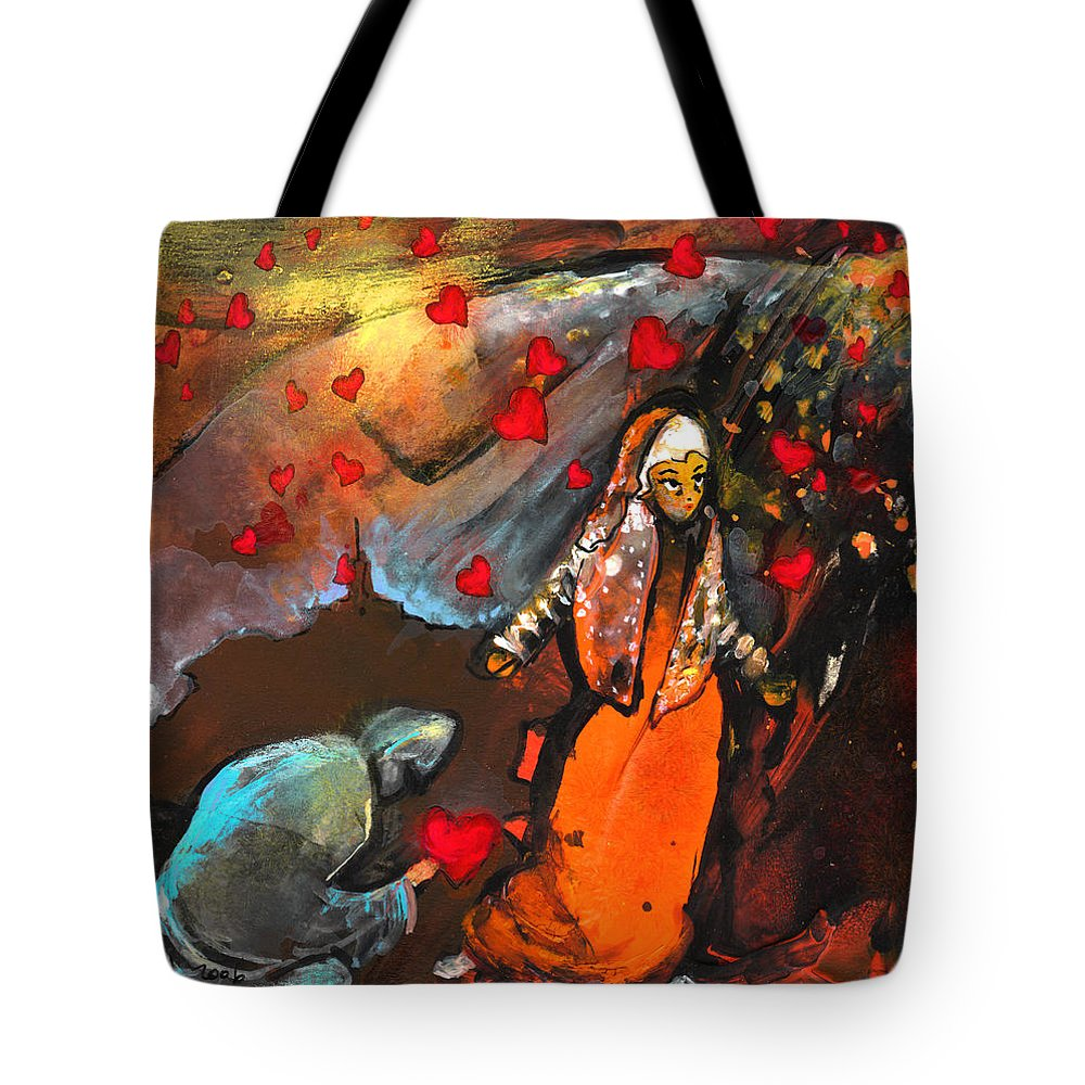 Valentine Tote Bag featuring the painting The Knight Of Your Heart by Miki De Goodaboom