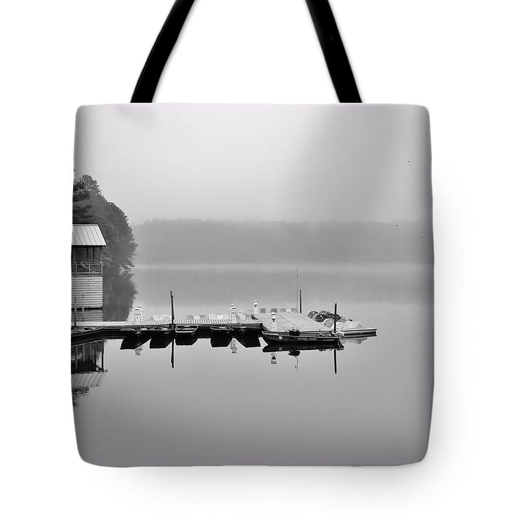 Lake Johnson Tote Bag featuring the photograph The Lake House by April Ann Canada - Raleigh Art Gallery