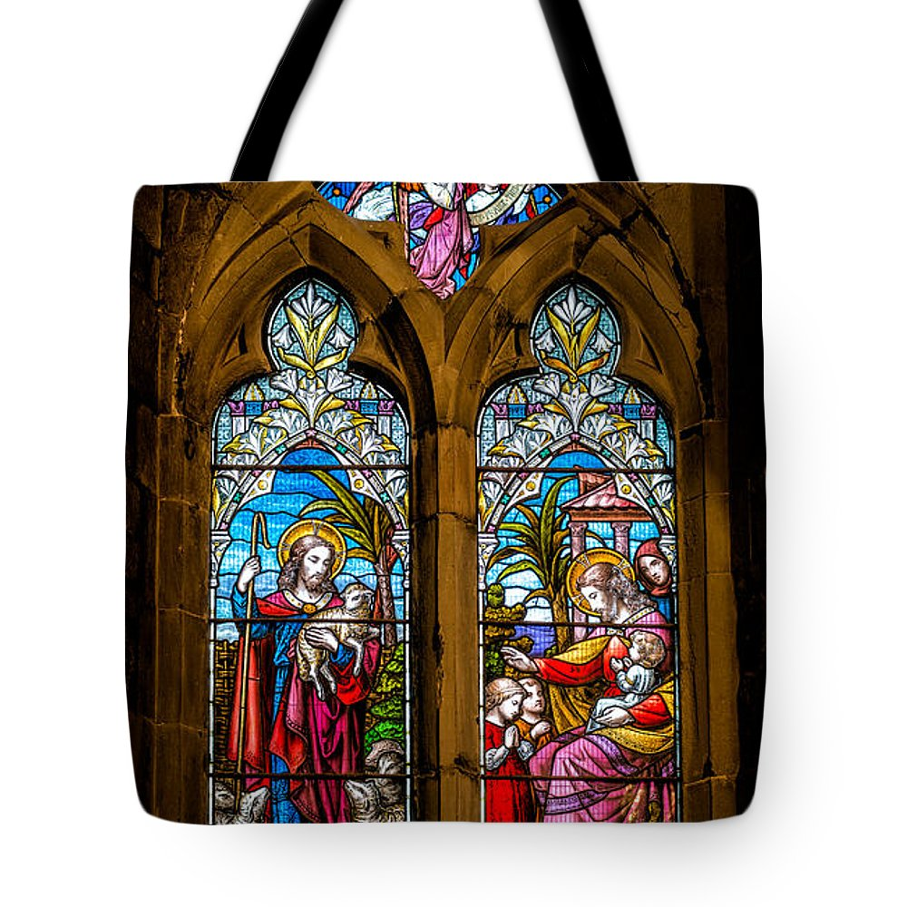 Stained Glass Tote Bag featuring the photograph The Lambs by Adrian Evans