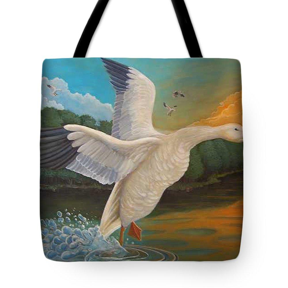 Rick Huotari Tote Bag featuring the painting The Landing by Rick Huotari