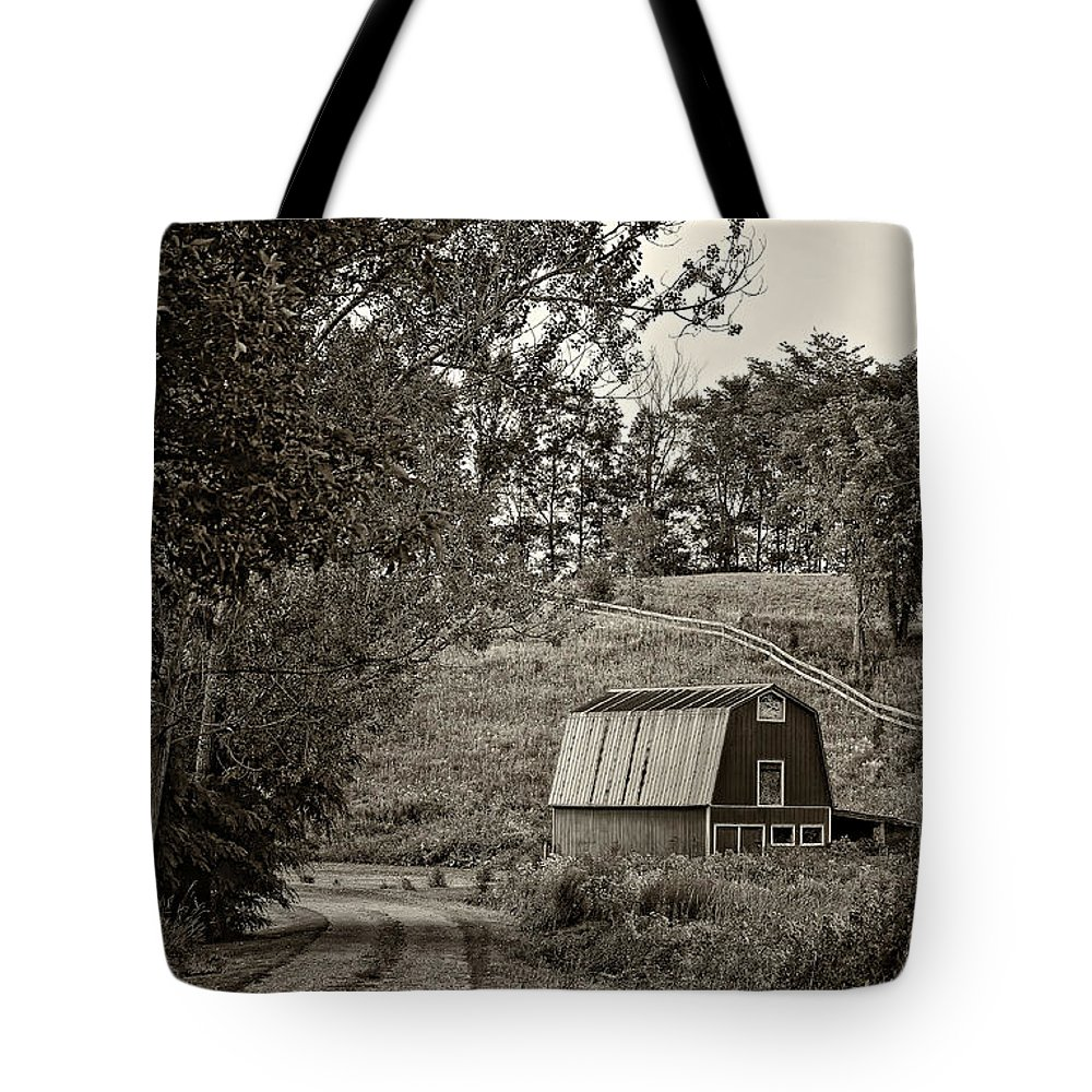 Lane Tote Bag featuring the photograph The Lane Sepia by Steve Harrington