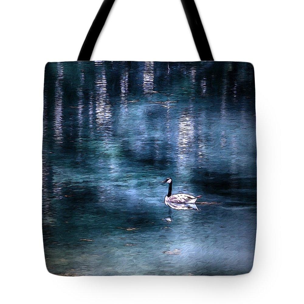 Goose Tote Bag featuring the mixed media The Last Goose by John Haldane