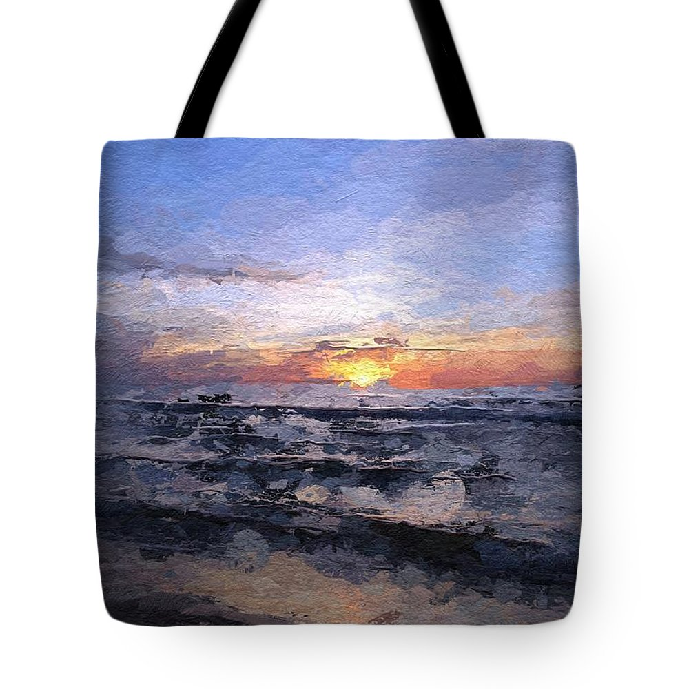 Sun Sunset Sea Baltic Wave Waves Light Color Colorful Ocean Cloud Clouds Expressionism Painting Tote Bag featuring the painting The Last Light by Steve K