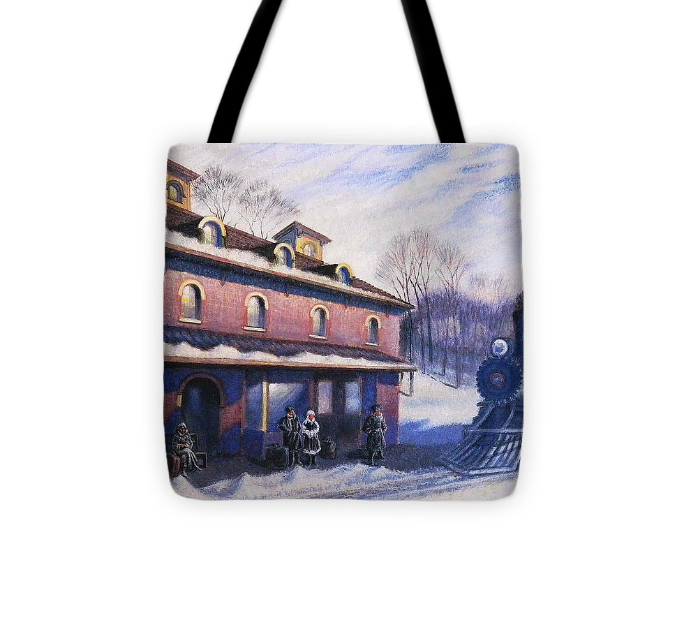 Railroad Tote Bag featuring the painting The Last Station by Raffi Jacobian
