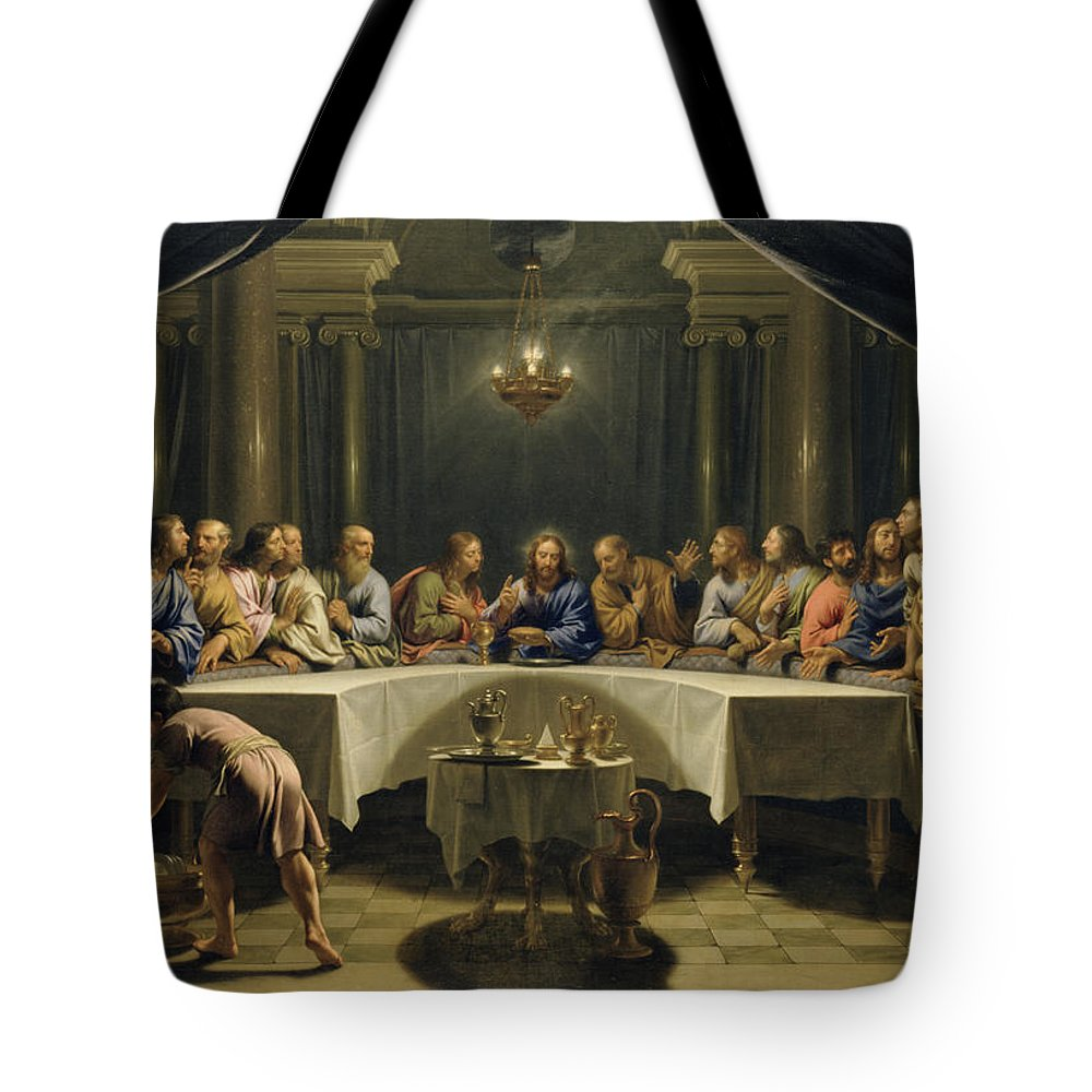 The Last Supper Tote Bag featuring the painting The Last Supper by Jean Baptiste de Champaigne