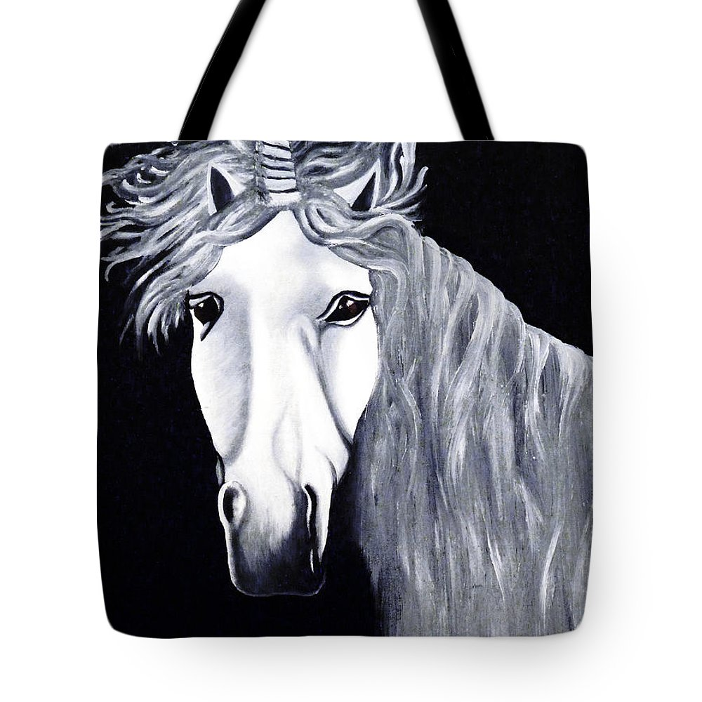 Unicorn Tote Bag featuring the painting The Last Unicorn by Alys Caviness-Gober