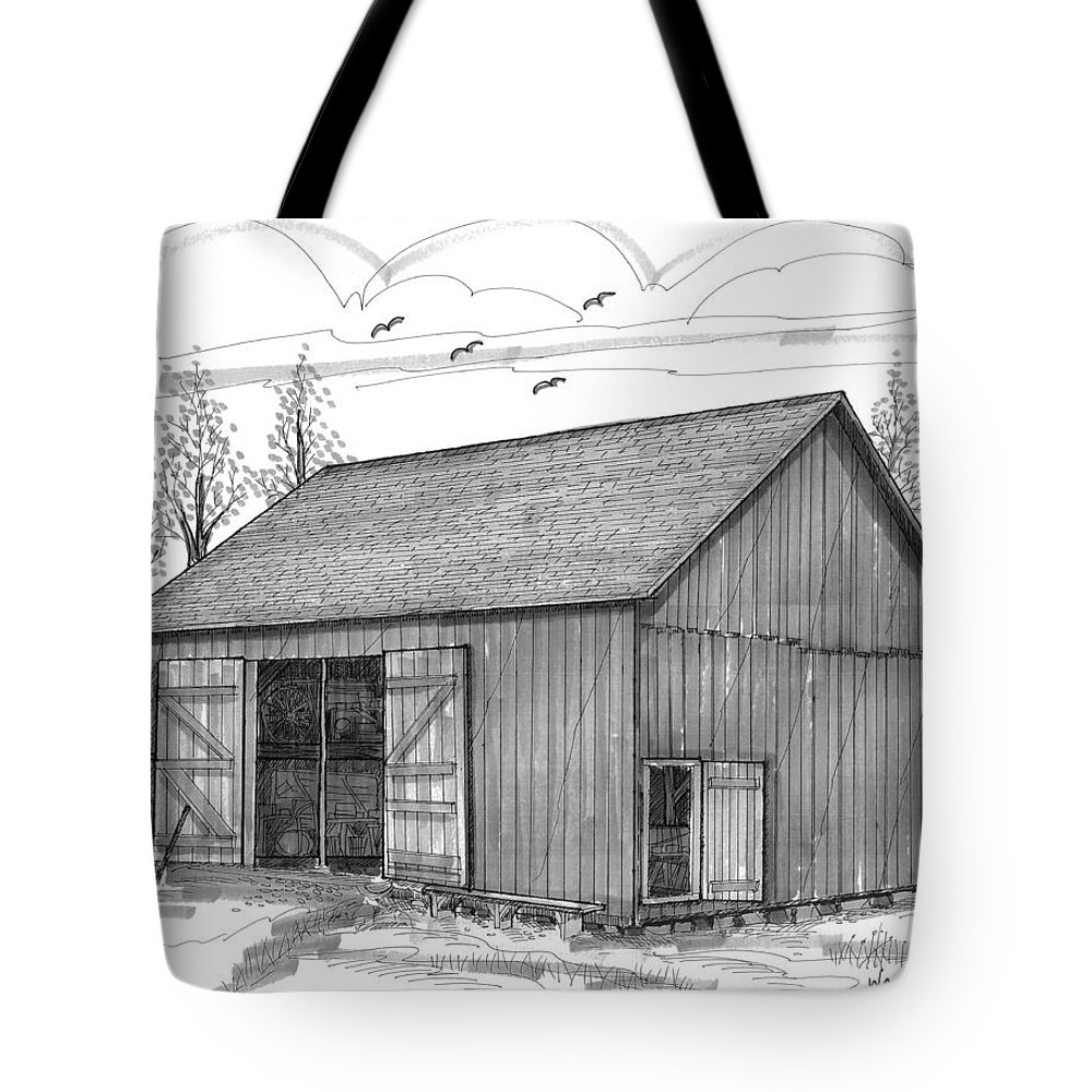 Vermont Tote Bag featuring the drawing The Lawrence Barn by Richard Wambach