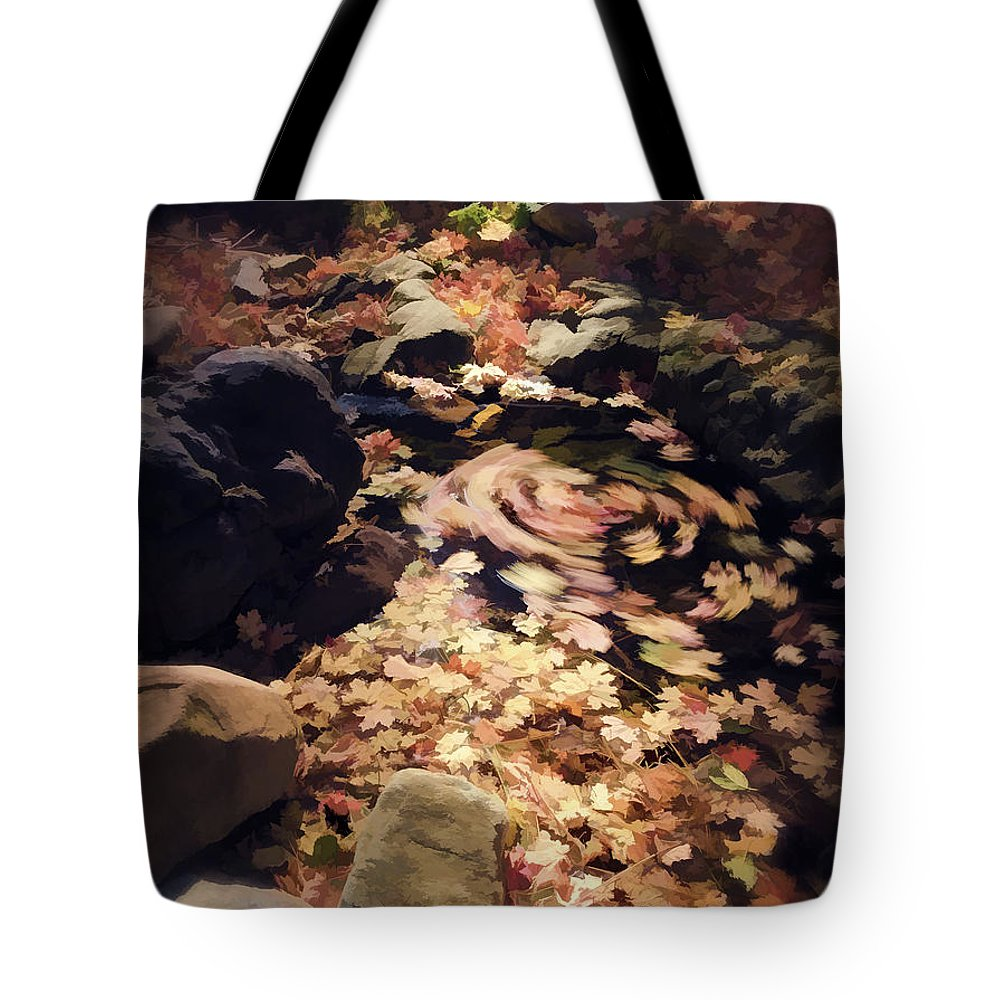 Autumn Tote Bag featuring the photograph The Leaf Swirl by Saija Lehtonen