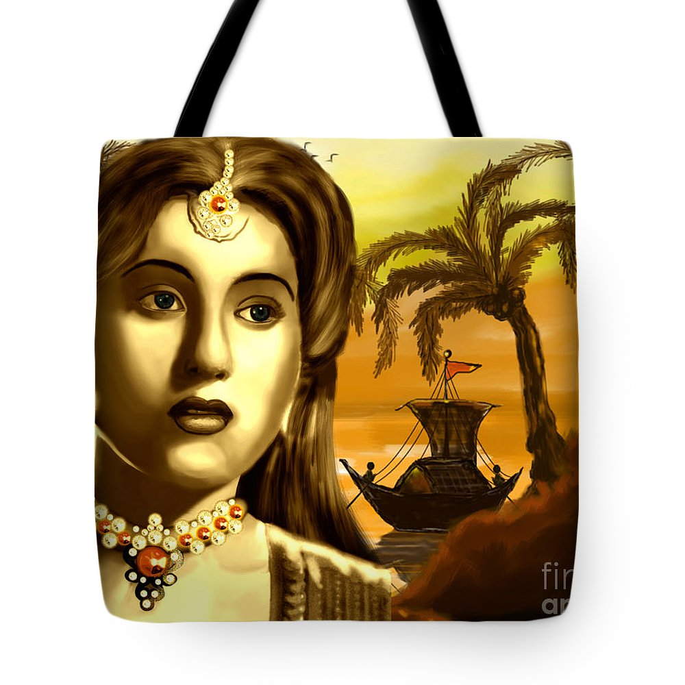 Digital Painting Tote Bag featuring the painting The Legend Actress Madhubala by Artist Nandika Dutt