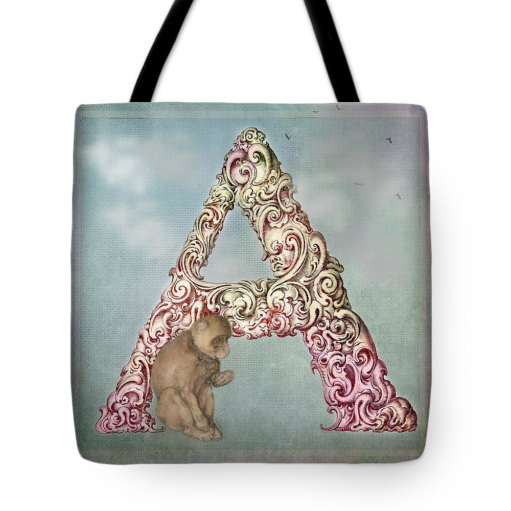 Letter Tote Bag featuring the digital art The Letter A by Terry Fleckney