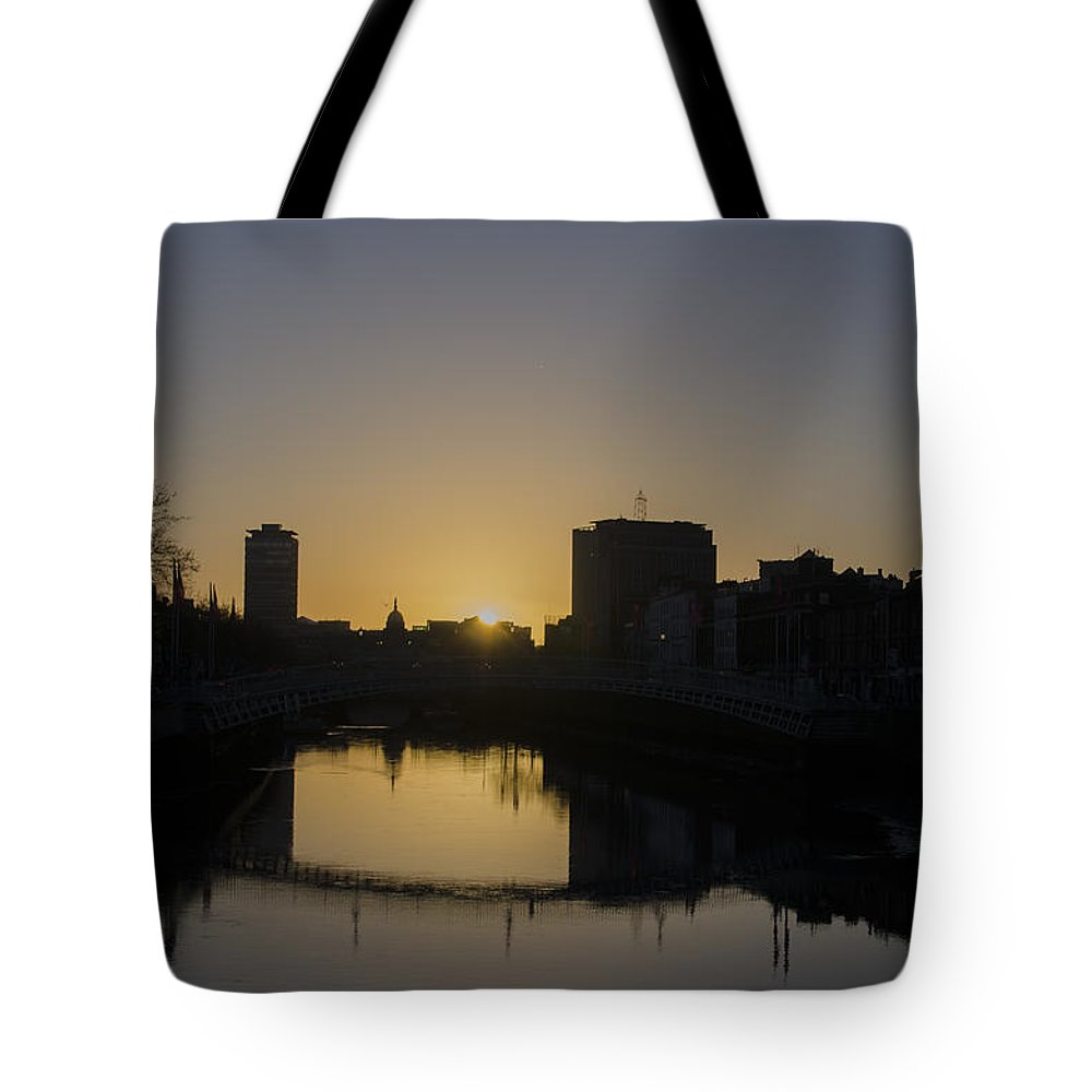 Liffey Tote Bag featuring the photograph The Liffey River In Morning - Dublin Ireland by Bill Cannon