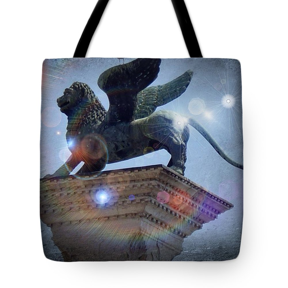 Lion Of Venice Tote Bag featuring the painting The Lion Of Venice by Nikki Keep