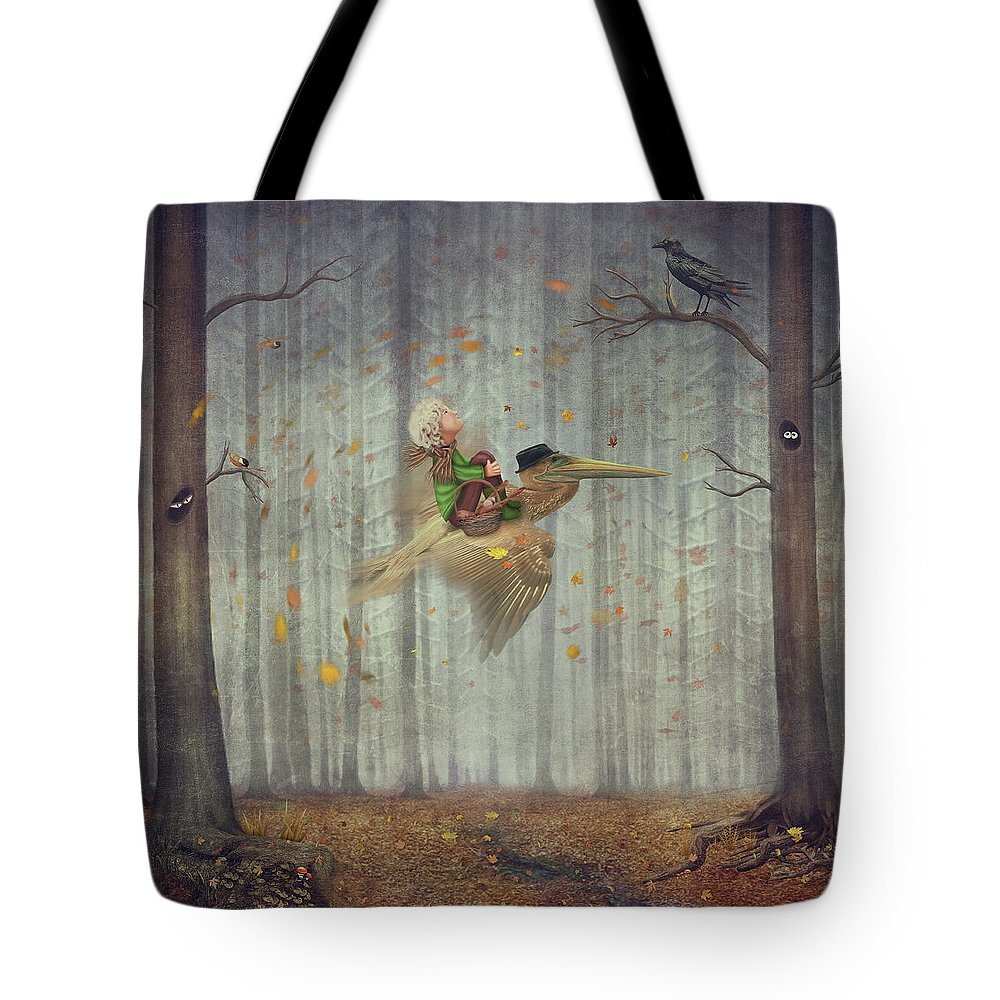 Flowerbed Tote Bag featuring the digital art The Little Boy And Brown Pelican Fly by Maroznc