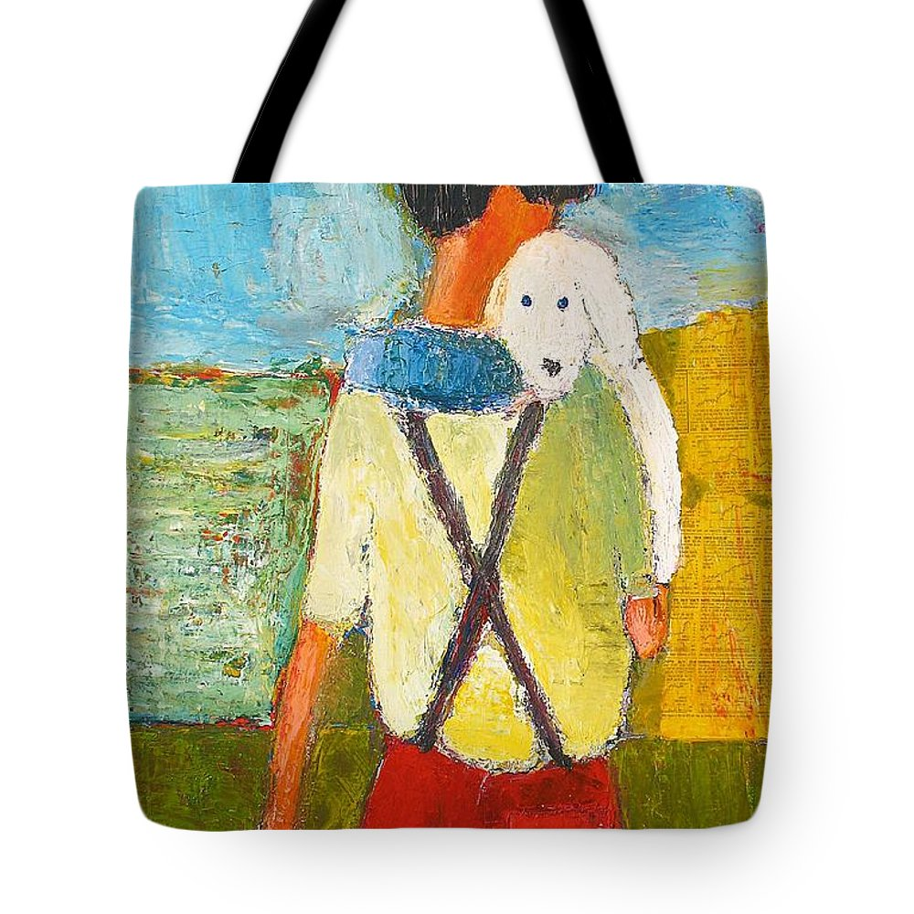 Abstract Tote Bag featuring the painting The Little Puppy by Habib Ayat