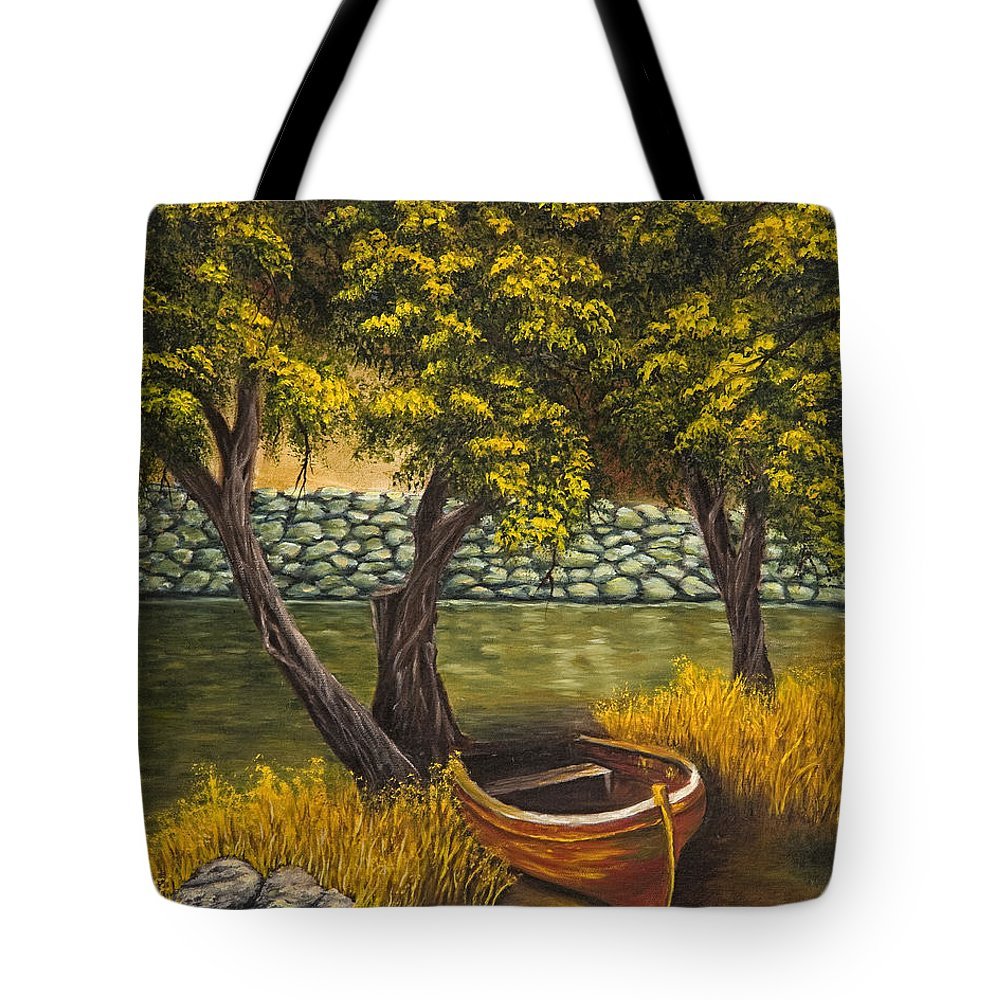Landscape Tote Bag featuring the painting The Little Red Boat by Darice Machel McGuire