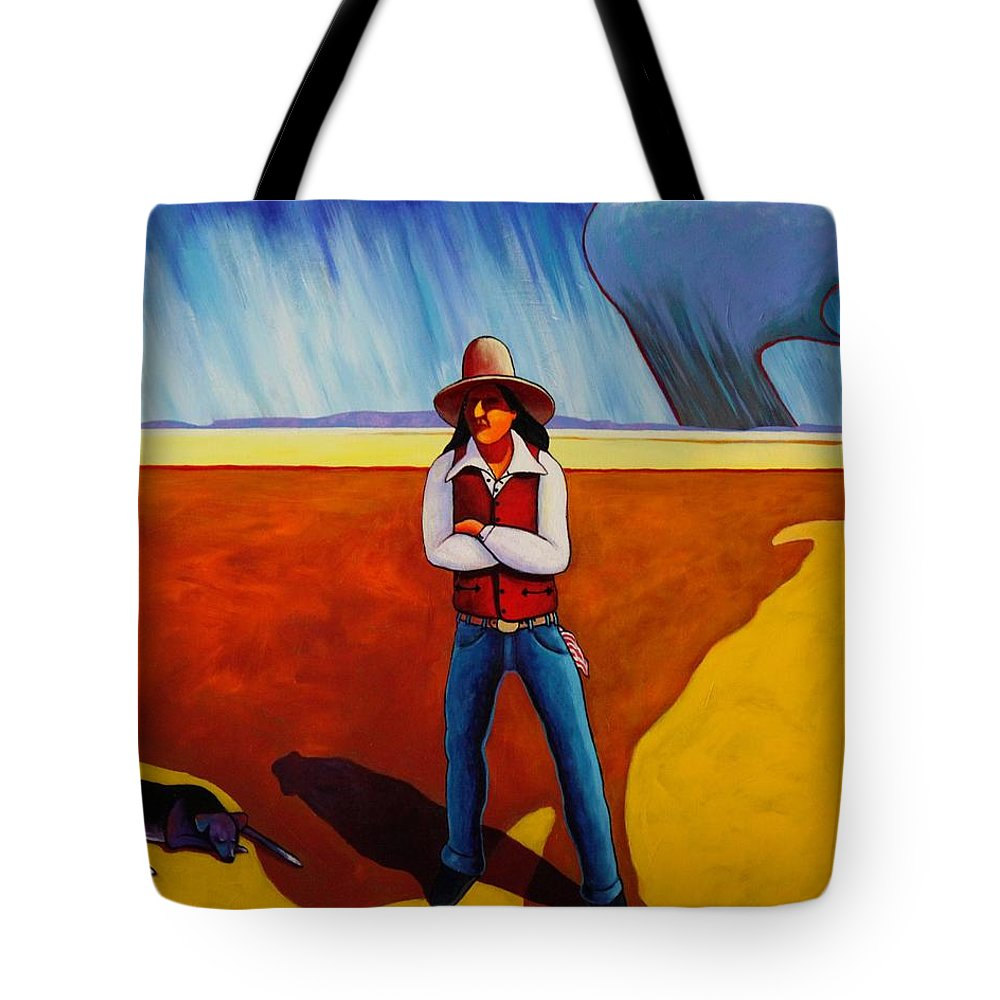 Native American Tote Bag featuring the painting The Logic Of Solitude by Joe Triano