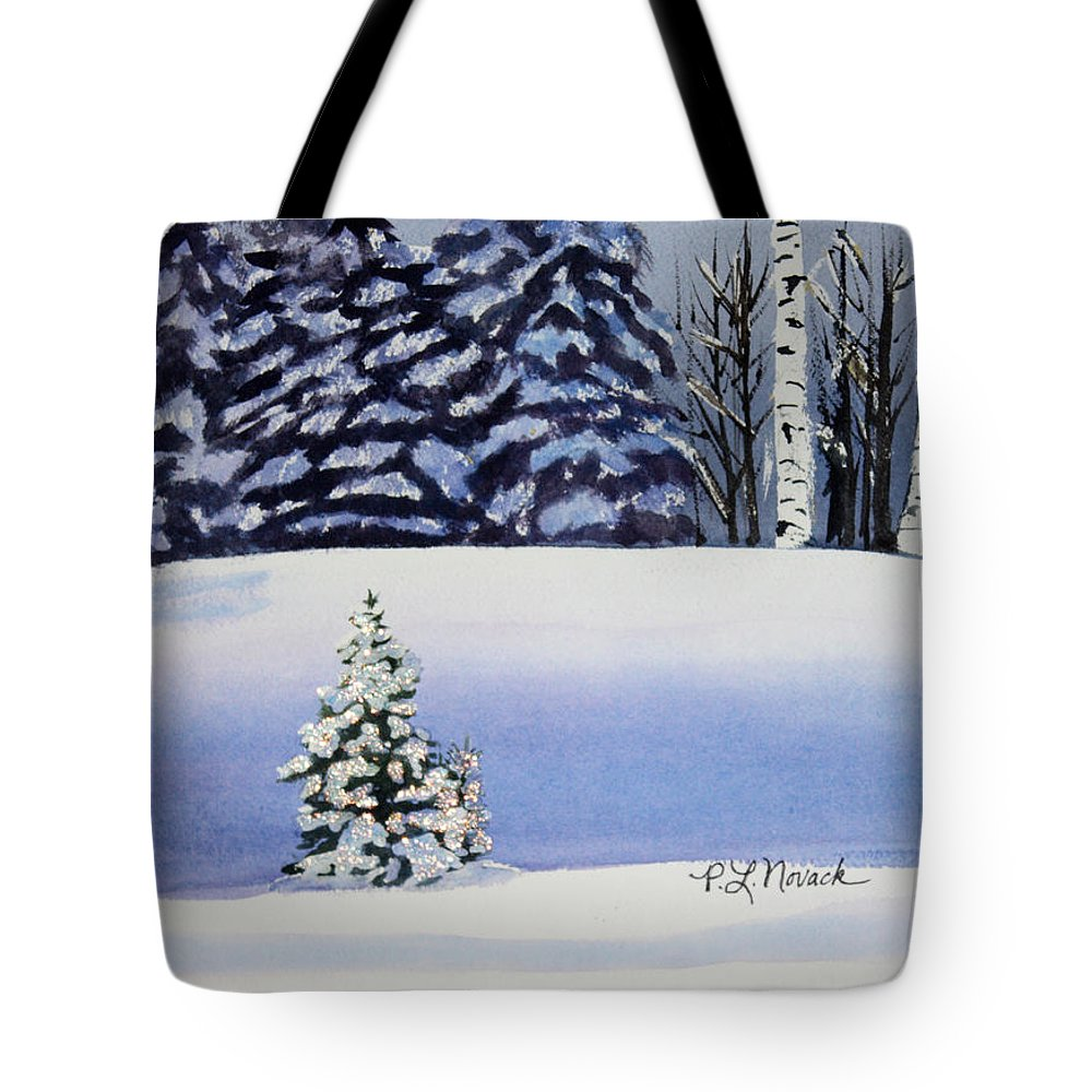 Christmas Tote Bag featuring the painting The Lone Christmas Tree by Patricia Novack