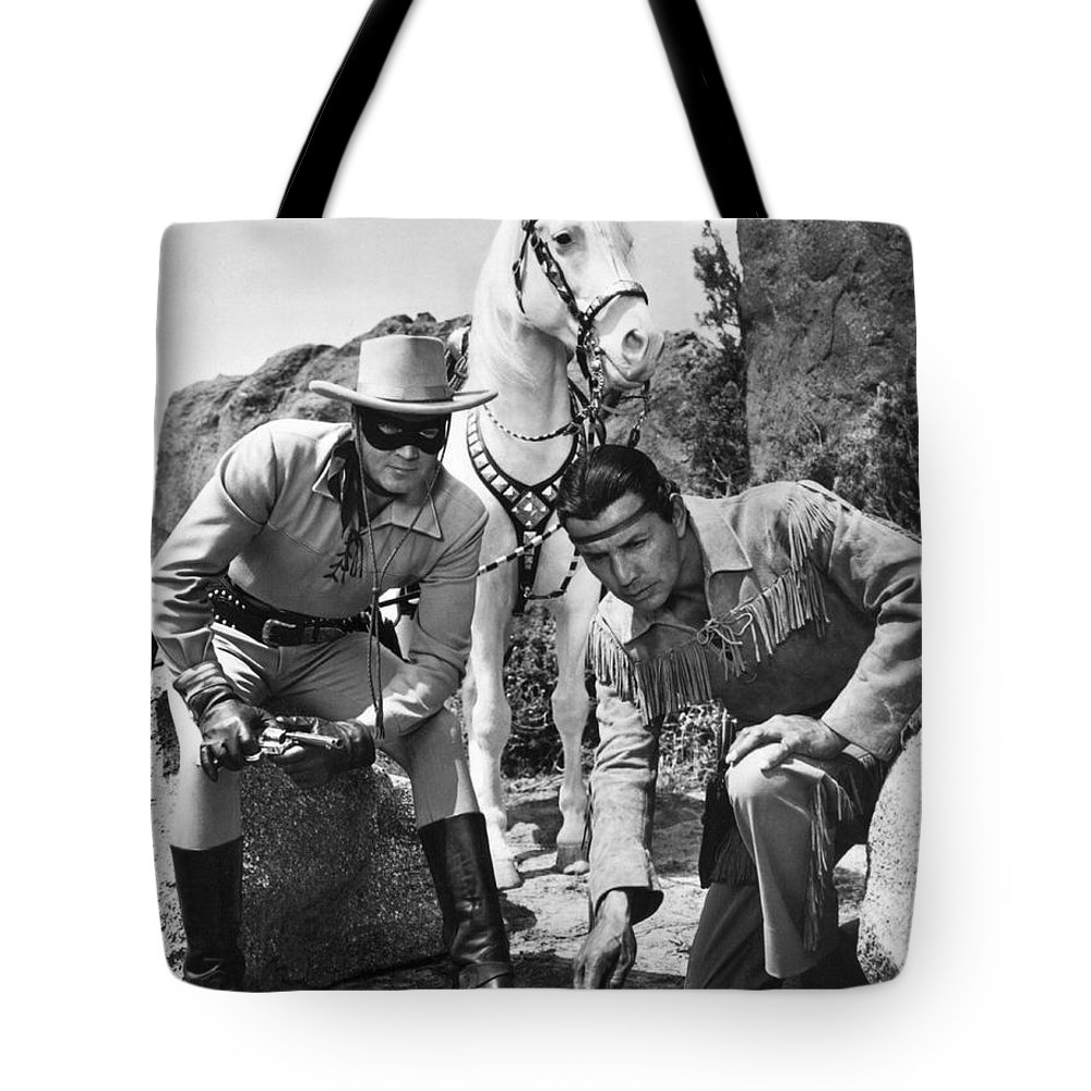 1950's Tote Bag featuring the photograph The Lone Ranger And Tonto by Underwood Archives
