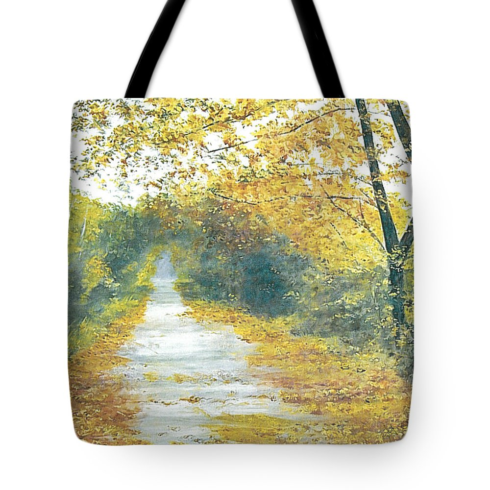 Kentucky Landscape Tote Bag featuring the painting The Long Road Home - Oil by Gerry Furgason