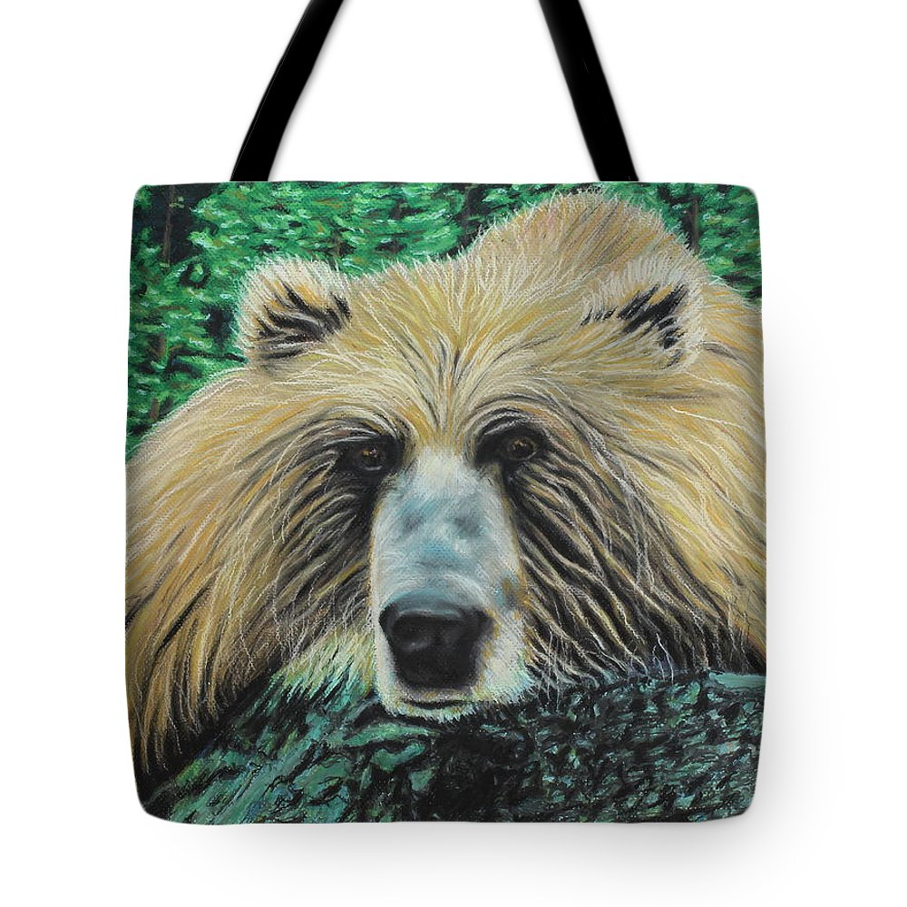 Bear Tote Bag featuring the painting The Look by Jeanne Fischer