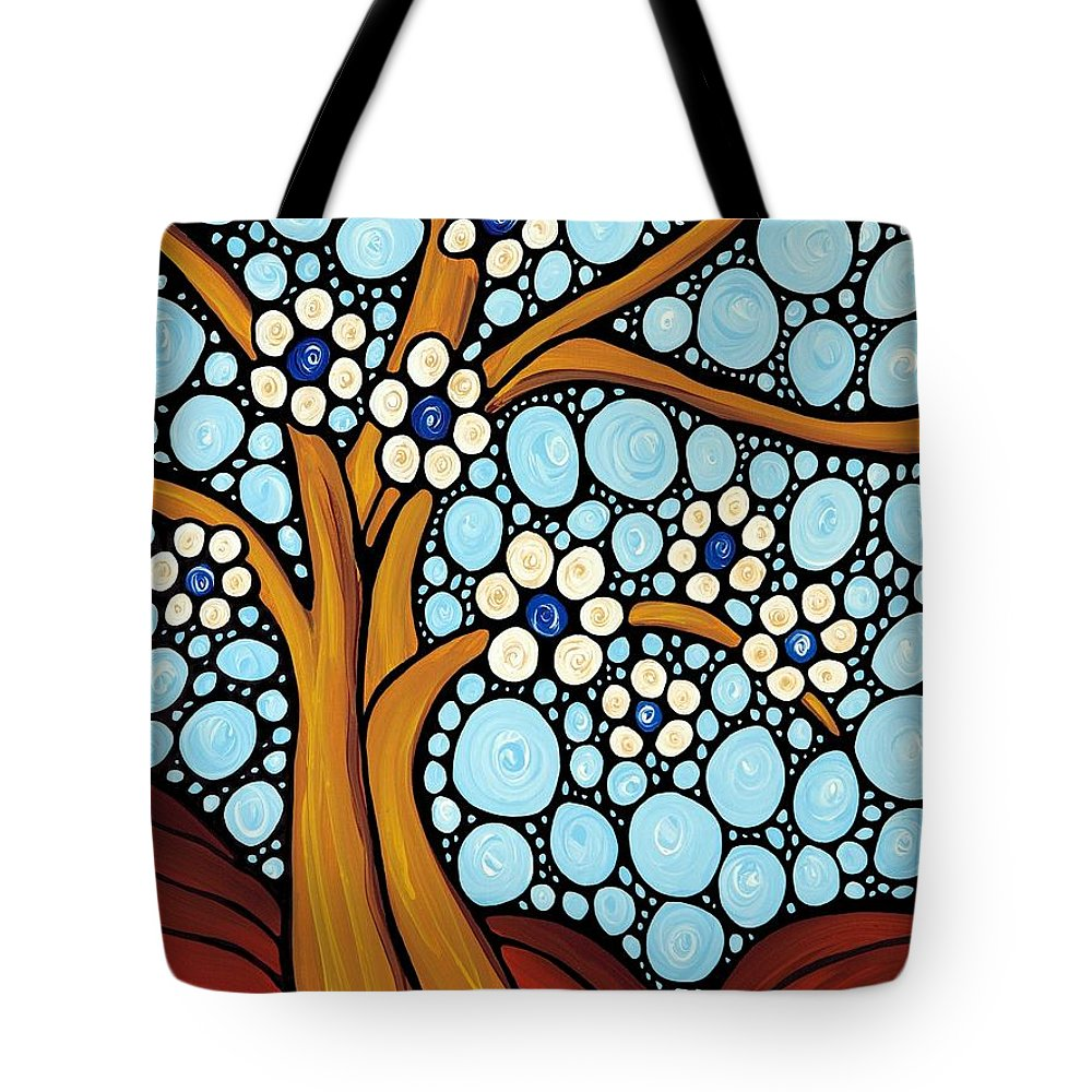 Flower Tote Bag featuring the painting The Loving Tree by Sharon Cummings
