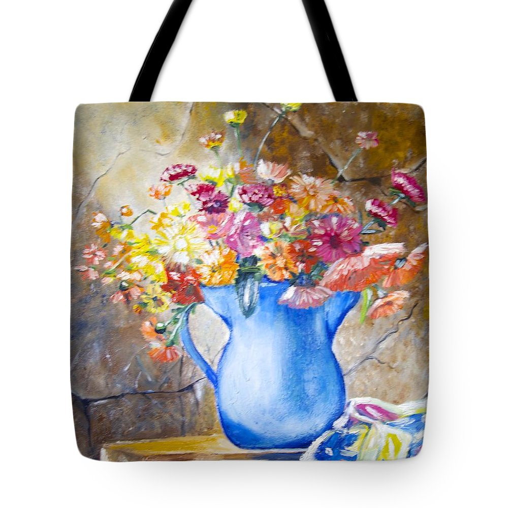 Flowers Blue Vase Material Pretty Picture Tote Bag featuring the painting The Blue Vase by Cynthia Farr