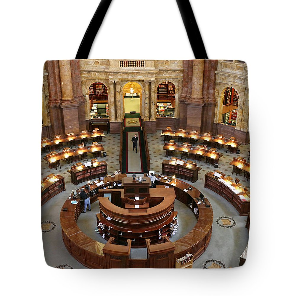 Main Reading Room Tote Bag featuring the photograph The Main Reading Room Of The Library Of Congress by Allen Beatty