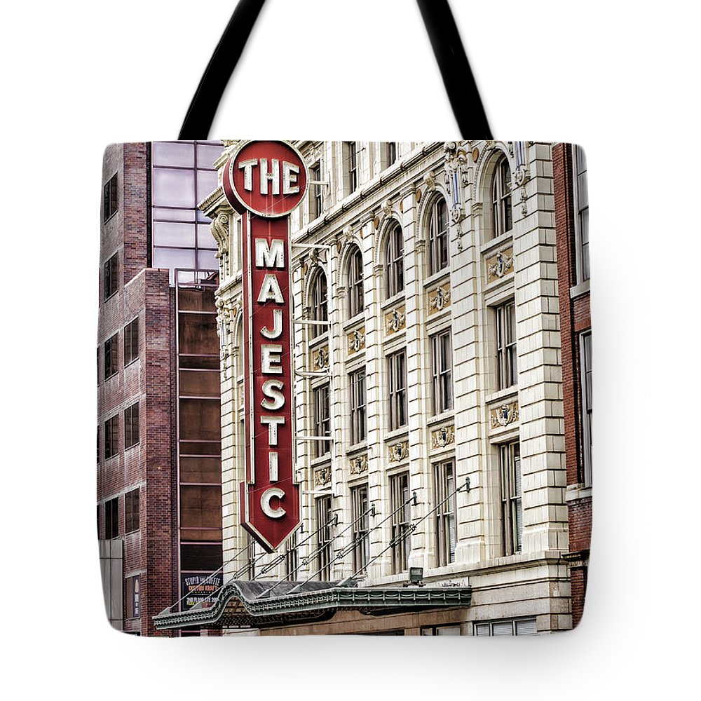 Majestic Theater Tote Bag featuring the photograph The Majestic by Heather Applegate