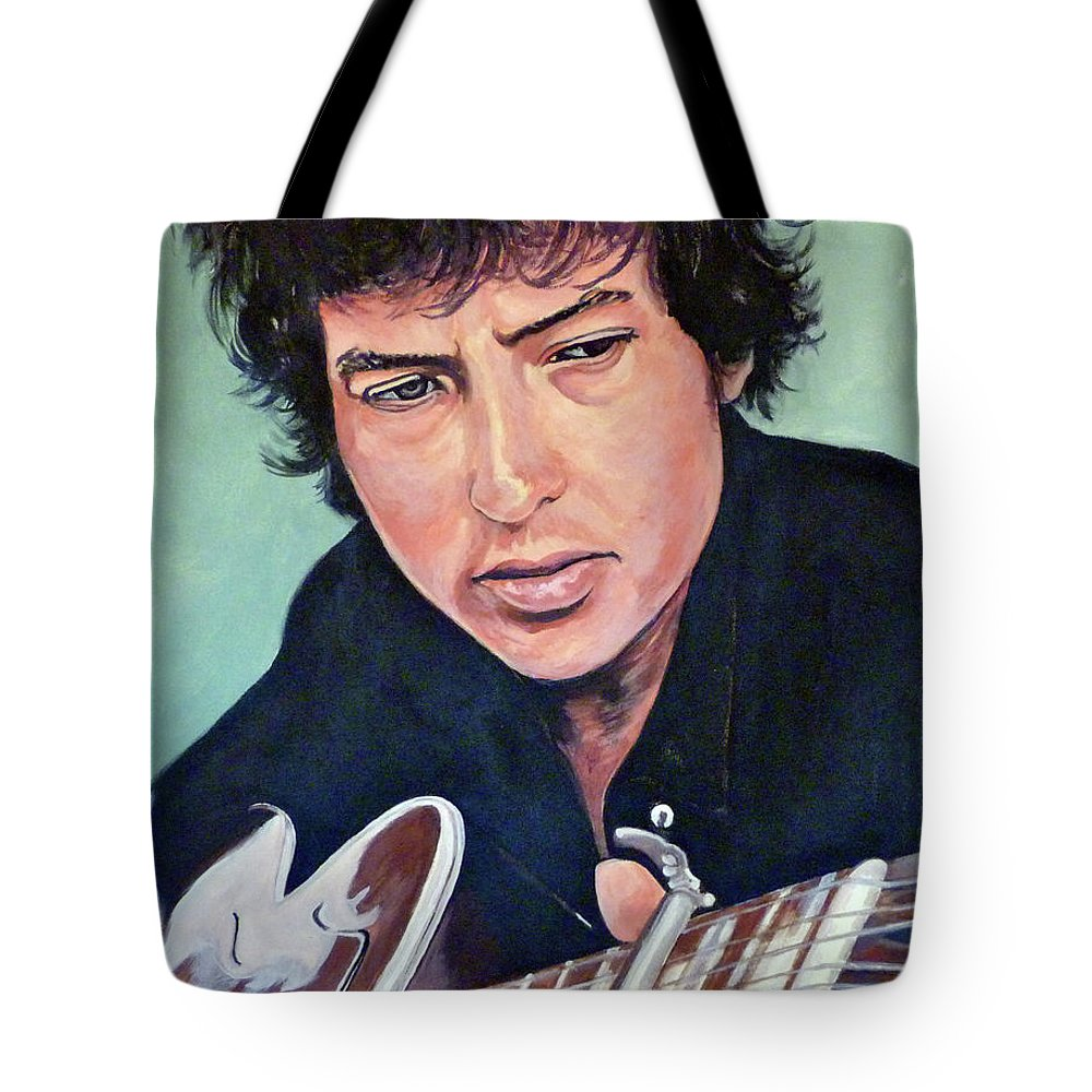 Bob Dylan Tote Bag featuring the painting The Man In Me by Tom Roderick