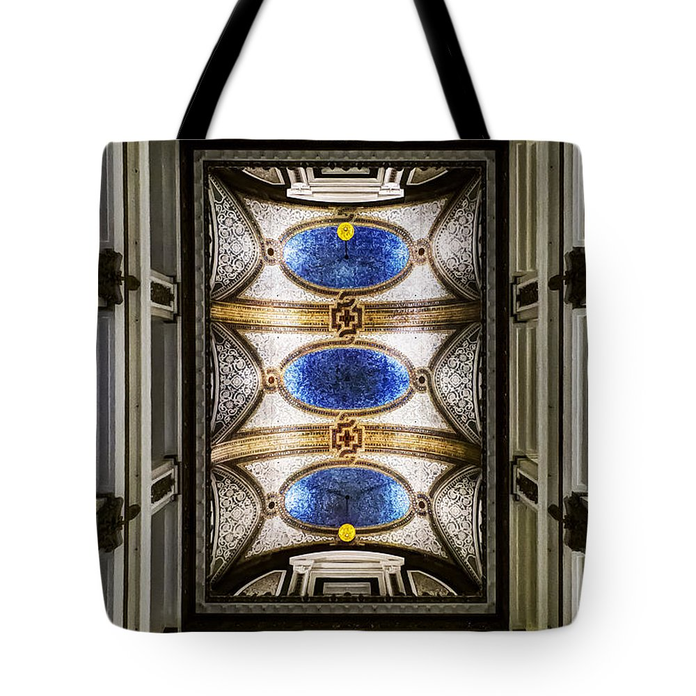 Chicago; Illinois; United States; America; United States Of America; Usa; Us; Ceiling; Abstract; Colors; Colorful; Tile; Tiled; Tiles; Mosaic; Stories; Tall; Details; Blue; Gold; White; Stone; Columns; Floors; Marshall Fields; Lights Tote Bag featuring the photograph The Marshall Fields by Margie Hurwich