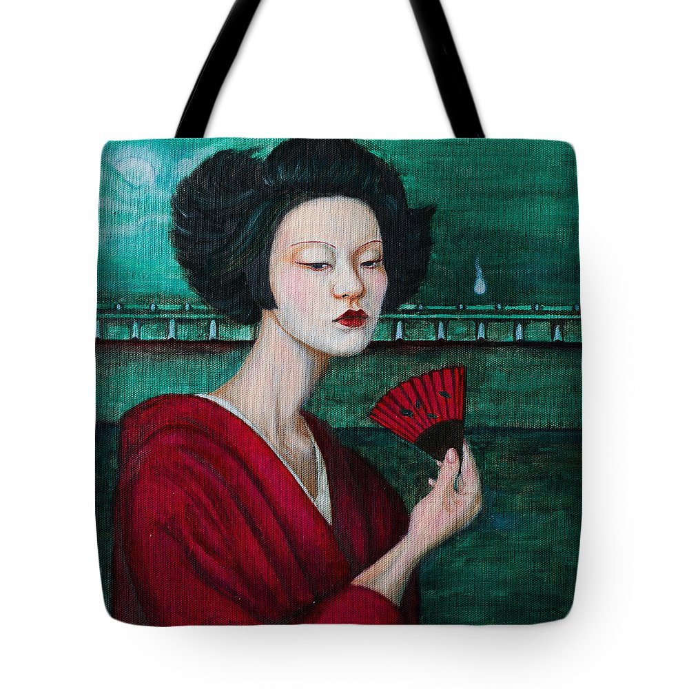 Woman Tote Bag featuring the painting The Meeting by Lucy Chen