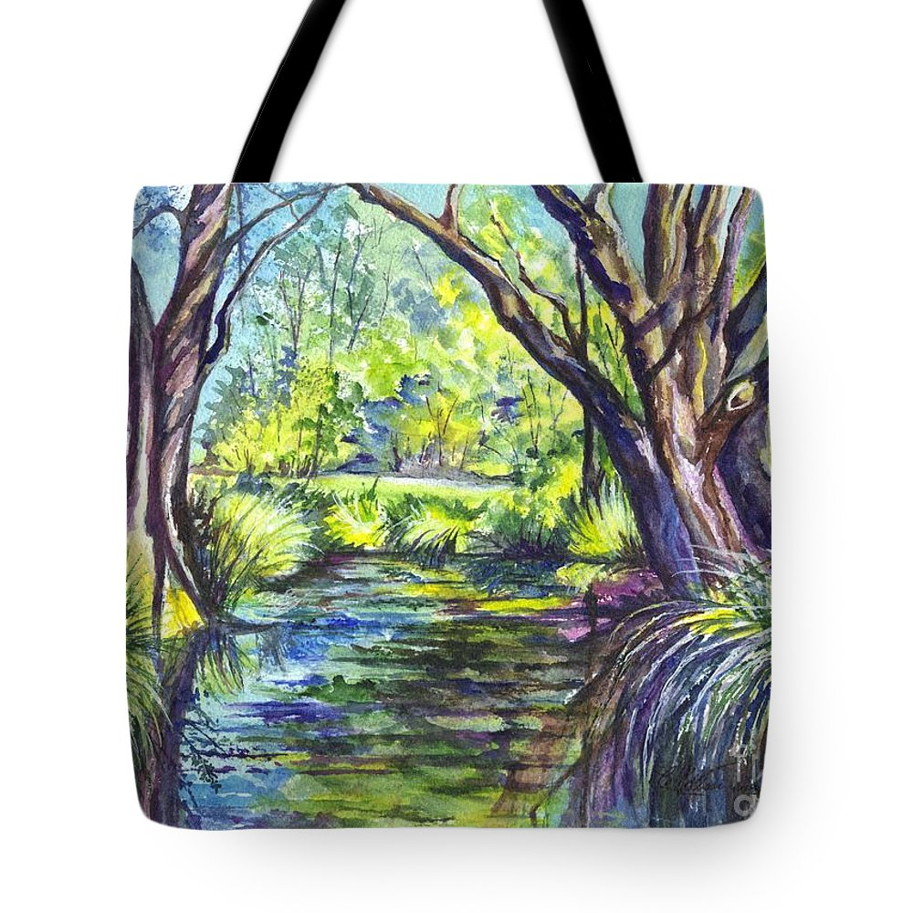 Melaleuca Tote Bag featuring the painting The Melaleucas by Carol Wisniewski