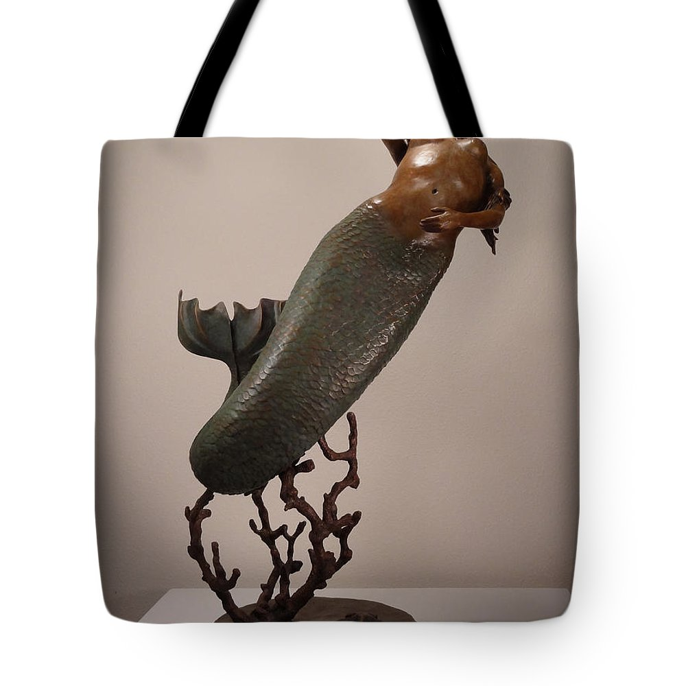 Mermaid Tote Bag featuring the sculpture The Mermaid by Lisbeth Sabol