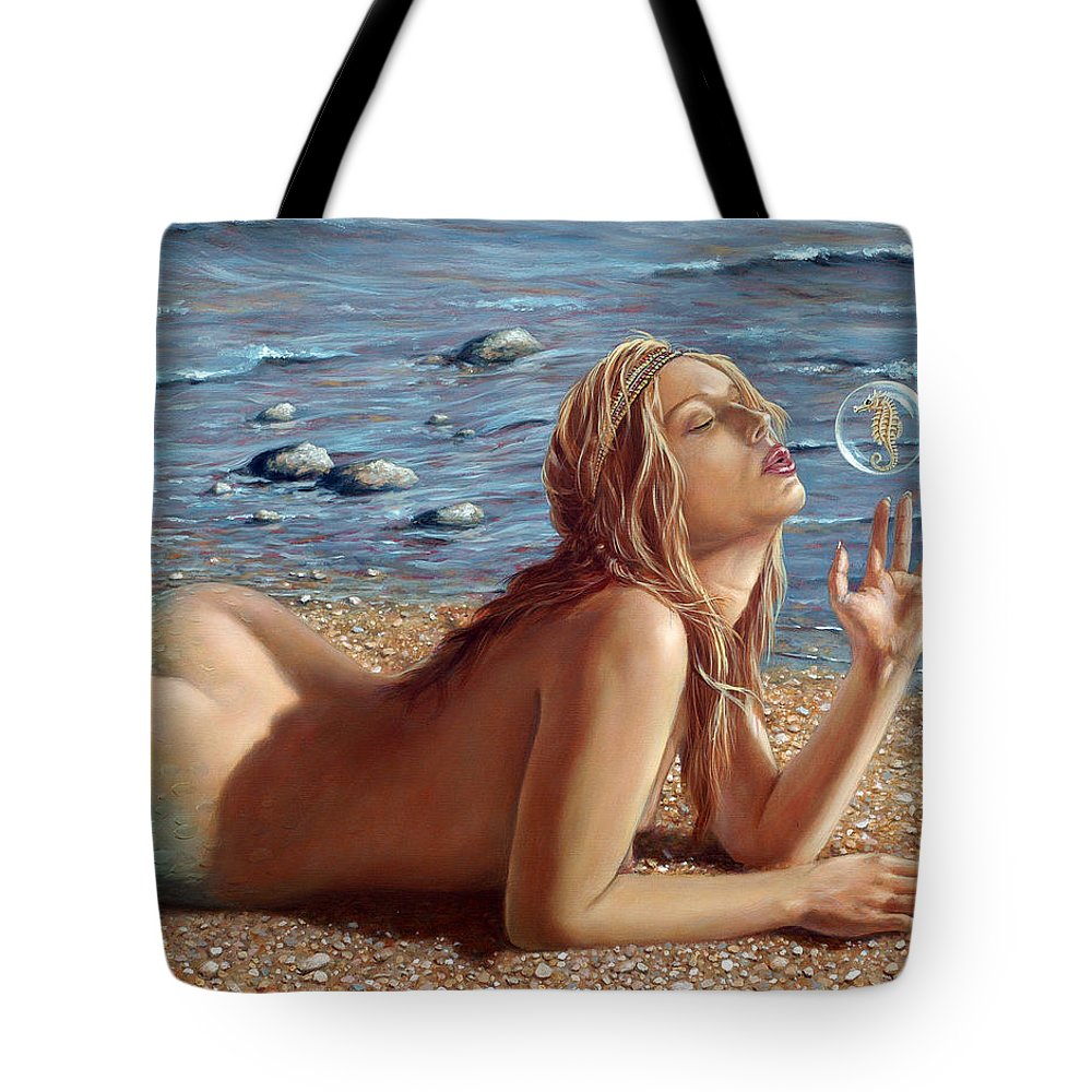 Seahorse Tote Bag featuring the painting The Mermaids Friend by John Silver