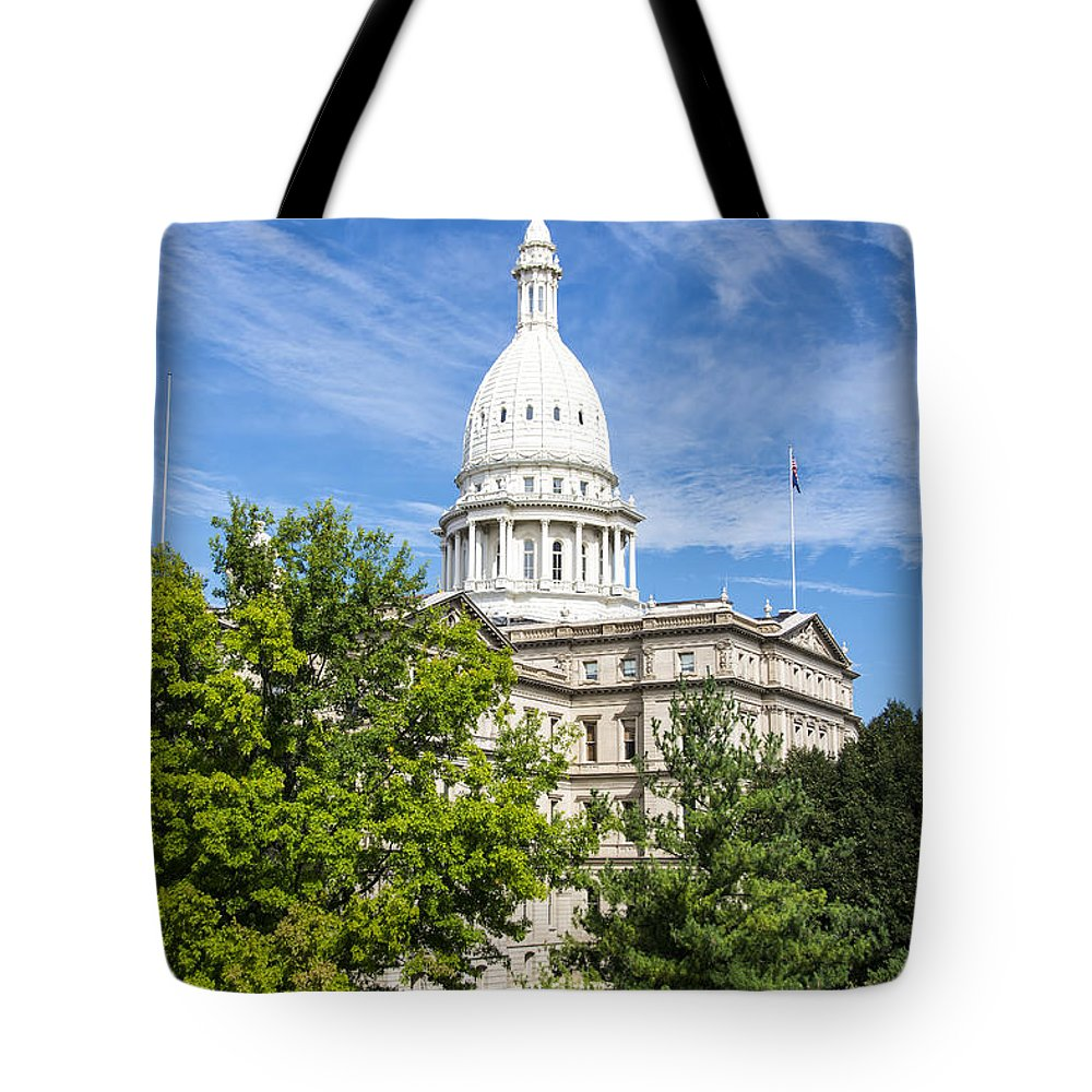 Arches Tote Bag featuring the photograph The Michigan Capitol Building by Gej Jones