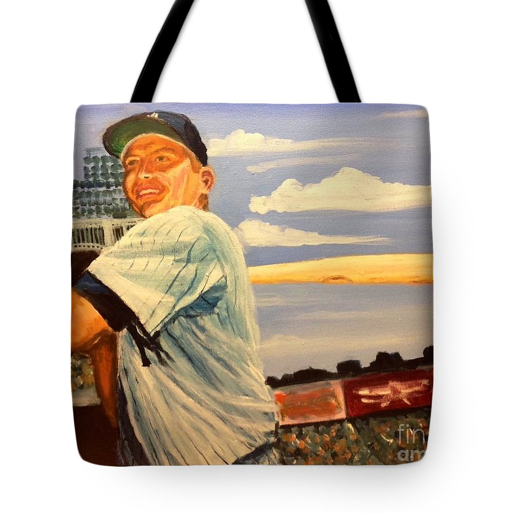 Mickey Mantle Tote Bag featuring the painting The Mick by Jeremy Nash